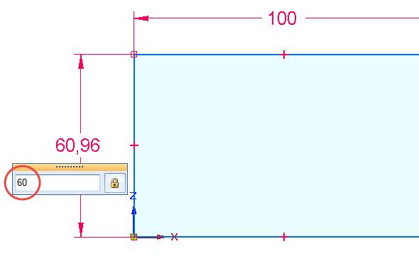 Klikněte na svislou přímku a táhněte doleva. Druhým kliknutím umístěte svislou kótu a definujte velikost entity přímky 60 mm.