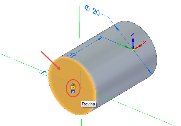 Vyberte příkaz Kružnice se středem a najeďte kurzorem na čelní plochu válce. Po zobrazení symbolu zámku uzamkněte rovinu klávesou F3