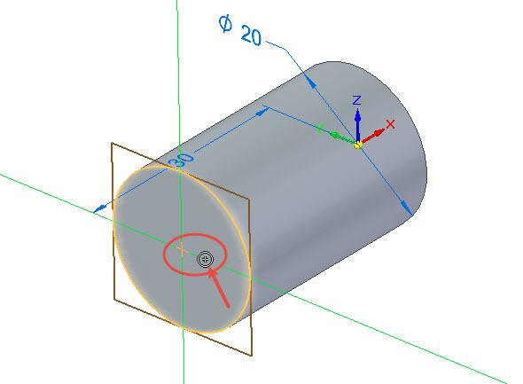 Přesunete-li kurzor ke středu plochy, objeví se symbol vazby Soustředná