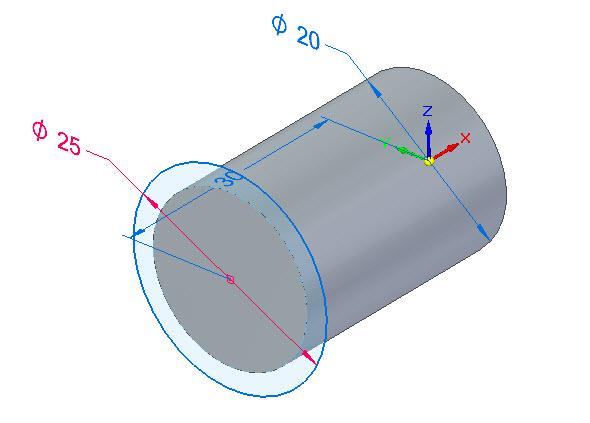 Klikněte do středu plochy a nakreslete kružnici o průměru 25 mm