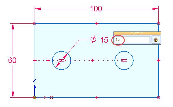 Chytrou kótou zakótujte průměr kružnice 15 mm.