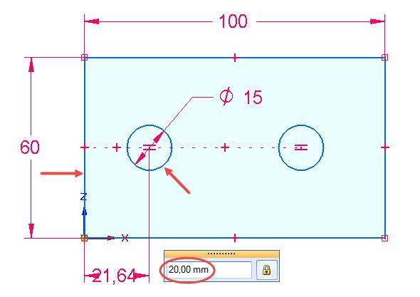Zakótujte vzdálenost středu kružnice od levé svislé přímky rozměrem 20 mm. Kótu vytvoříte kliknutím na svislou přímku a kružnici, tažením směrem dolů a kliknutím umístíte její pozici. Vzdálenost definujte ručním zadáním a hodnotu potvrďte klávesou Enter.