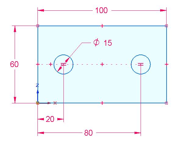 Zakótujte vzdálenost 80 mm mezi levou svislou přímkou a středem pravé kružnice.