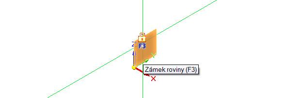 Najeďte kurzorem do roviny ZY a vyčkejte, až se zobrazí oranžový čtverec se symbolem zámku. Stisknutím klávesy F3 uzamknete rovinu