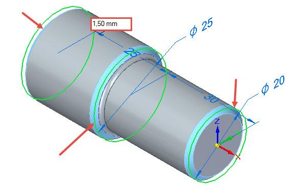 Označte hrany na modelu zvýrazněné červenou šipkou a zadejte velikost zkosení 1,5 × 45 stupňů