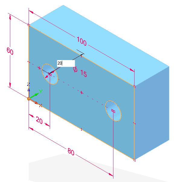 Tažením kurzoru vytáhněte náčrt a definujte velikost vysunutí 20 mm. Vysunutí potvrďte klávesou Enter.