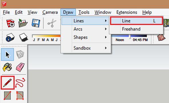 Pro vytvoření kužele použijete funkciLine (Čára). Tuto funkci je možné spustiti vmenu Draw (Kreslení) →Lines (Čáry) →Line (Čára). Alternativně je možné kliknout i na ikonu pro spuštění funkce kreslení čáry.