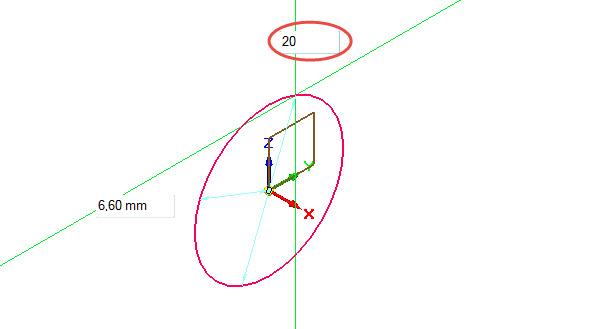 Nakreslete kružnici se středem v počátku souřadného systému. Tažením myši a kliknutím definujte orientační průměr