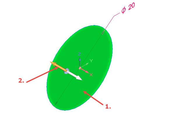Umístěte kurzor dovnitř kružnice a stiskněte levé tlačítko (1. krok). Zobrazí se šipky určující směr vysunutí uzavřeného obrysu. Klikněte na šipku směřující dozadu (2. krok)