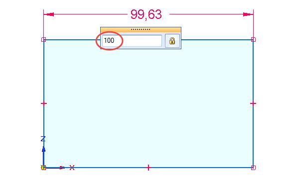 Vplovoucím okně definujte velikost entity přímky 100 mm a potvrďte klávesou Enter.