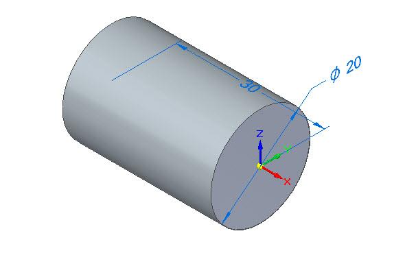 Definujte velikost vysunutí hodnotou 30 mm