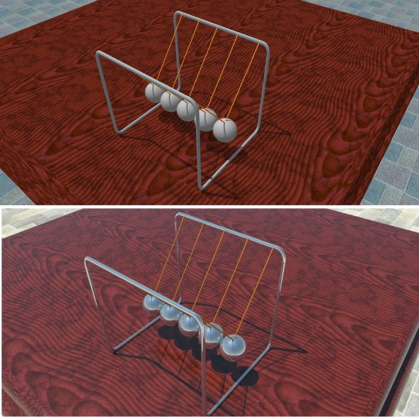Porovnání podoby modelu ve Sketchupu (nahoře) a výsledné vizualizace ve V-Ray