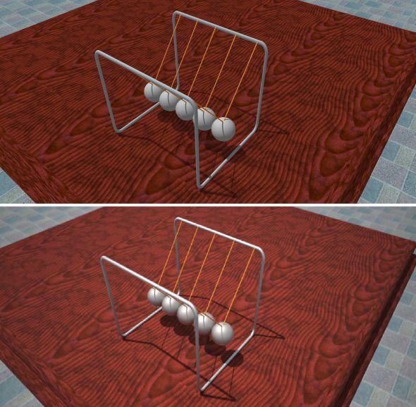 Porovnání podoby modelu ve Sketchupu (nahoře) a výsledné vizualizace vMaxwell