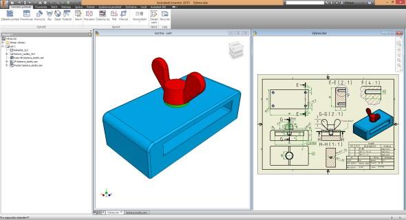Zobrazení 3D modelu (levé okno) a výkres