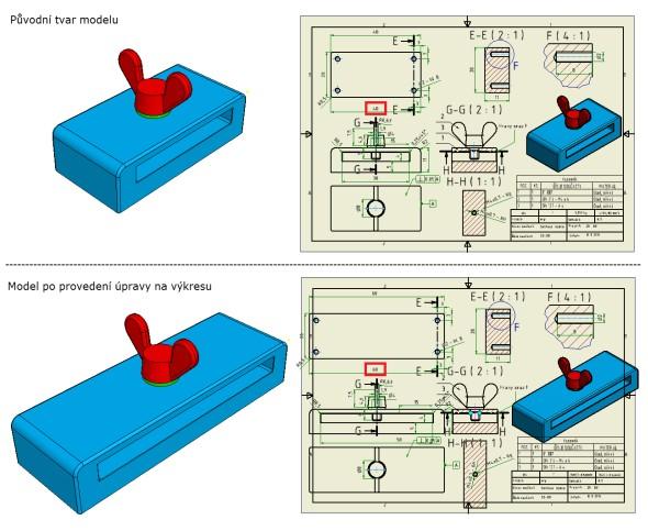 Změna 3D modelu úpravou kót ve výkrese: prodloužení dílu ze 40 na 60 mm