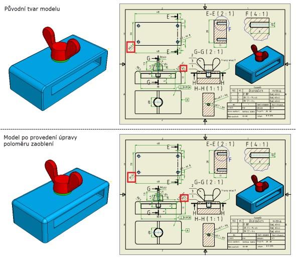 Změna 3D modelu úpravou kót ve výkrese: úprava poloměru zaoblení hran na R 1,5 mm