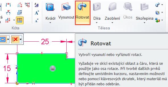 Klikněte do uzavřeného obrysu (průřezu čepu) a vyberte příkaz Rotovat ze záložky Domů → Kreslit.