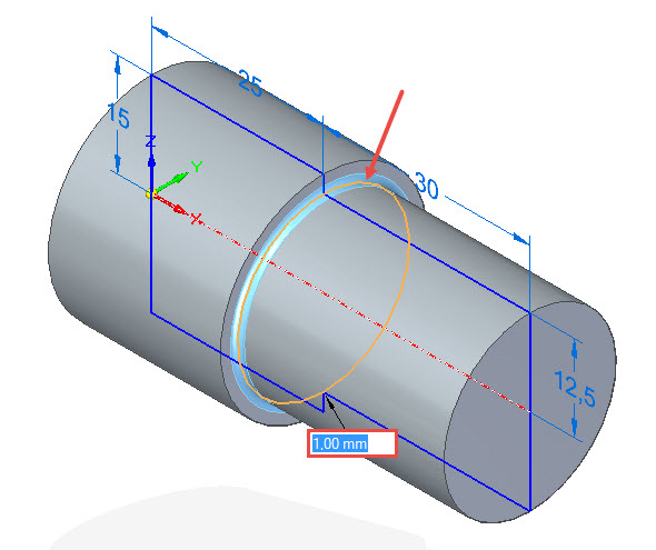 Označte přechodovou hranu kzaoblení a zadejte velikost poloměru 1 mm