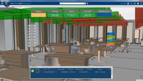 Inteligentní budovu spravuje digitálně společnost Dassault Systèmes na platformách 3D Experinece a 3D ExperinCity. Obrázek: Dassault Systèmes