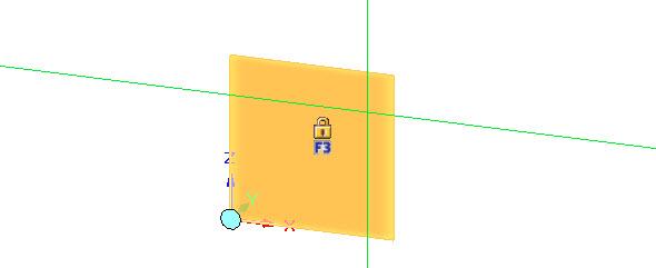Najeďte kurzorem do roviny ZX a vyčkejte, až se zobrazí oranžový čtverec se symbolem zámku. Stisknutím klávesy F3 uzamknete rovinu