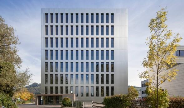 Moderní budova LifeCycle One v rakouském Dornbirnu. Foto: