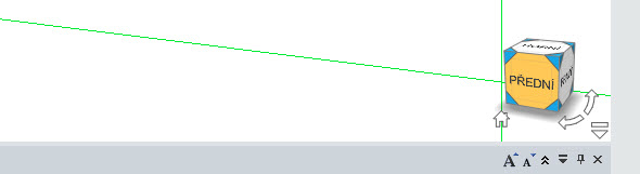 Kliknutím na rovinu krychle stextem Přední vpravém dolním rohu grafického prostředí se přepnete do pohledu kolmého na tuto rovinu