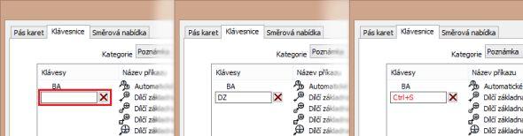 Samotné vytvoření klávesové zkratky se provádí vseznamu funkcí, ve sloupci klávesy.