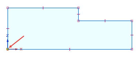 Nakreslete průřez čepu pomocí čar a dbejte na správně orientovaný počátek souřadného systému zvýrazněný červenou šipkou