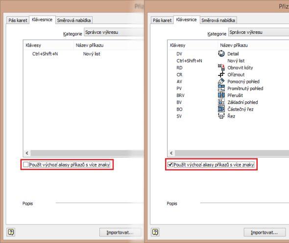 Tip: Pouhým zatrhnutím funkce Použít výchozí aliasy příkazů svíce znaky se nabídka klávesových zkratek rozšíří – vpřípadě kategorie Správce výkresu zjedné klávesové zkratky na deset klávesových zkratek.
