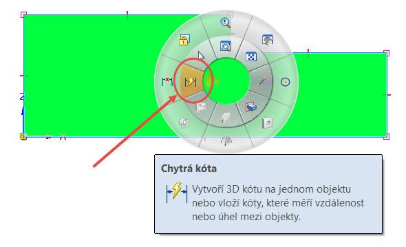 Pomocí příkazu Rychlá kóta umístěný v gestech myši náčrt zakótujte. Gesta myši zobrazíte stisknutím levého tlačítka vgrafické ploše a tažením požadovaným směrem. Ve výchozím nastavení řešení Solid Edge je příkaz Rychlá kóta umístěný vlevo – stiskněte pravé tlačítko myši v grafické ploše, táhněte doleva a vyberte příkaz pro tvorbu kót
