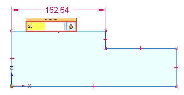 Klikněte levým tlačítkem na entitu, tažením myši umístěte pozici kóty a definujte velikost přímky
