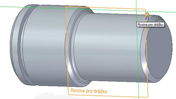 Přejmenování roviny se promítne i do grafické plochy. Vyberte příkaz Obdélník dvěma body ze záložky Domů → Kreslit, poté najeďte na Rovinu pro drážku a uzamkněte ji (klávesa F3)