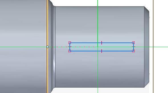 Nakreslete obdélník na požadované ploše, popřípadě obdélník přesuňte nebo zavazběte na střed osy rotačního tělesa