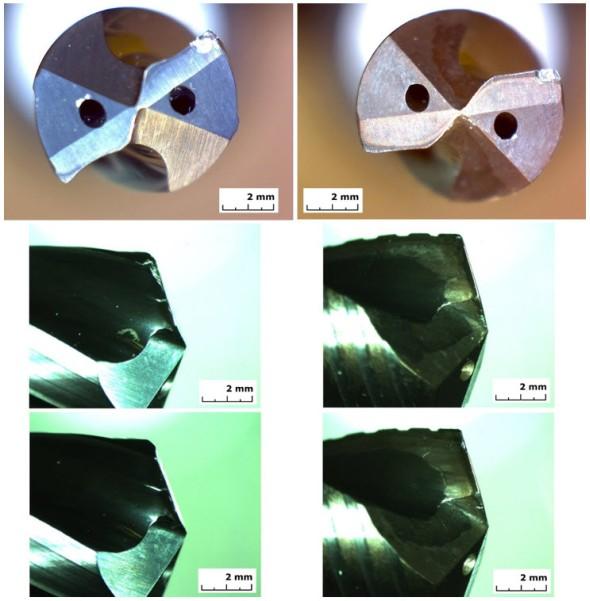 Obr. 12 Opotřebení na hřbetech a čelech vrtáků A6785-8 (vlevo) a DC170