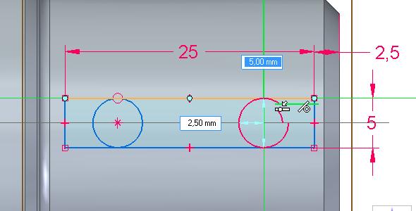 Nakreslete vepsané kružnice o průměru 5 mm kamkoliv do obdélníku
