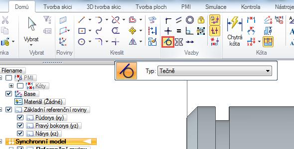 Vyberte příkaz Tečně ze záložky Domů → Vazby. Poté klikněte na kružnici a svislou čáru obdélníku. Postup opakujte i pro druhou stranu drážky