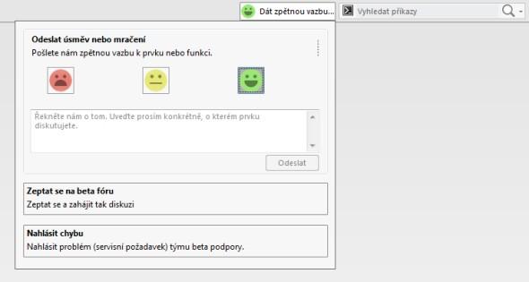 Vývojovému oddělení můžete dát zpětnou vazbu prostřednictvím speciálního formuláře v horní části grafického okna