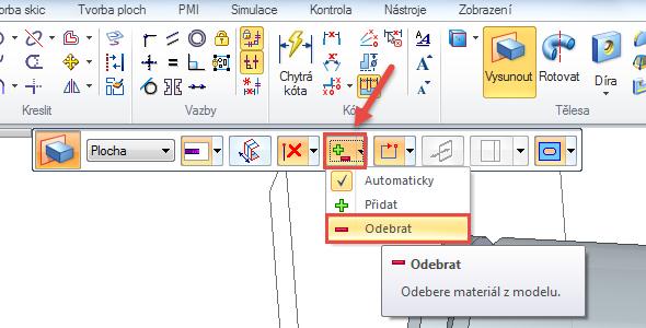 Kliknutím vyberte naskicovanou drážku a vplovoucím okně nabídky Vysunout zvolte Odebrat. Poté tahem kurzoru myši nastavte vzdálenost vyříznutí, nebo zadejte přesnou hodnotu na numerické klávesnici. Potvrďte klávesou Enter.