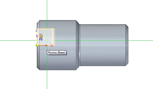 Najeďte kurzorem do roviny XZ a počkejte, až se zobrazí oranžový čtverec se symbolem zámku. Stisknutím klávesy F3 uzamkněte rovinu, čímž zaručíte skicování vtéto rovině