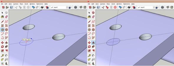 Do vzniklého průsečíku pomocných čar nakreslete kruh, který následně protáhnete skrz profil