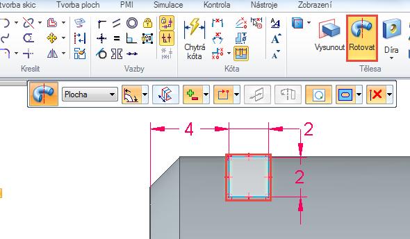 Vyberte příkaz Rotovat ze záložky Domů → Tělesa. Klikněte do obrysu čtverce, vybraná plocha zešedne a potvrďte pravým tlačítkem myši nebo klávesou Enter