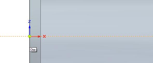 Klikněte na osu rotačního dílce, čímž definujete osu rotace