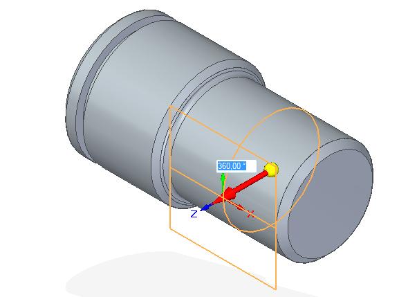 Klikněte na válcovou plochu čepu, kde bude odebrána drážka. Tahem myši nebo zadáním na numerické klávesnici určete, kde má rovina vzniknout. Vnašem případě zadáme 360 a rovina se vytvoří vpohledu nárysu