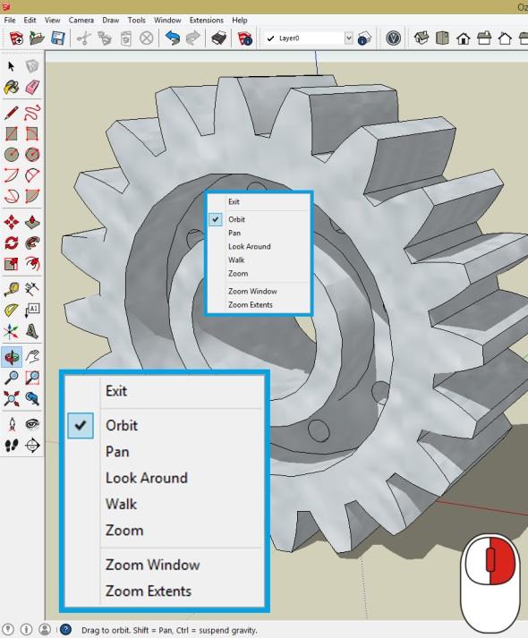 Zobrazení kontextového menu pro navigaci. Na výběr jsou funkce Orbit, Pan, Look Around, Walk, Zoom, Zoom Window a Zoom Extents