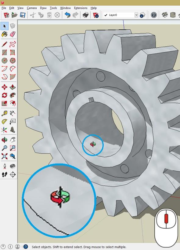 Funkce orbit spustíte kliknutím na prostřední kolečko a pohybem myši