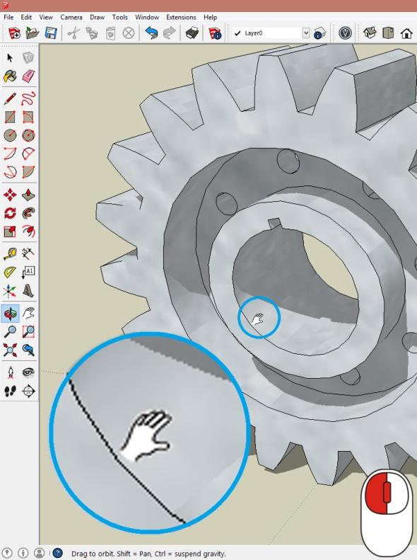 Funkce Pan (posun) se spustí stisknutím prostředního kolečka a levého tlačítka