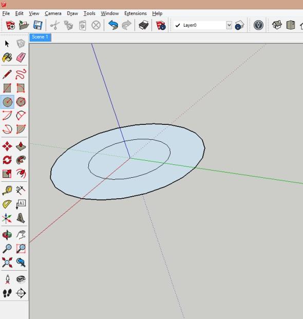 Vnější kružnice představuje vnější obrys schodiště a vnitřní kružnice vnitřní obrys schodiště