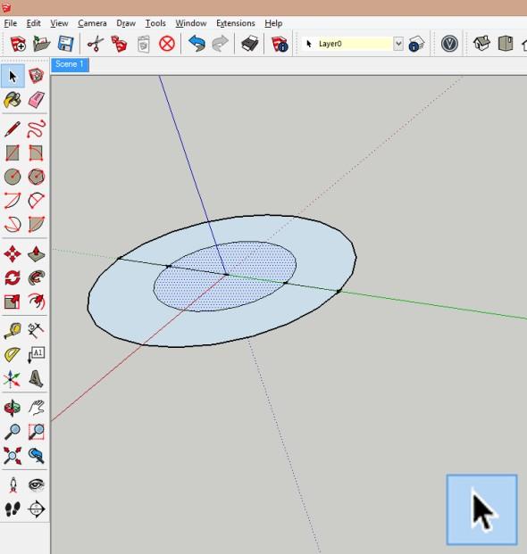 Vzniknuvší kružnice je pak třeba rozdělit čárou