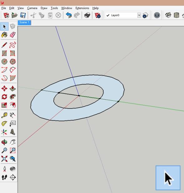 Jakmile jsou kružnice rozděleny, tak odstraňte vnitřní plochu menší kružnice