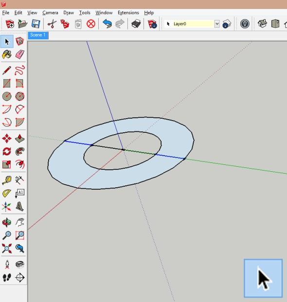 Vyberte linie spojující malou velkou kružnici. Osu otáčení zadejte do středu kružnic (např. kliknutím do počátku souřadného systému, pokud jste zpočátku souřadného systému kreslili kružnice). Dále podržte klávesu Ctrl (dojde ke kopírování) a zadejte požadovaný úhel natočení (např. 15°)